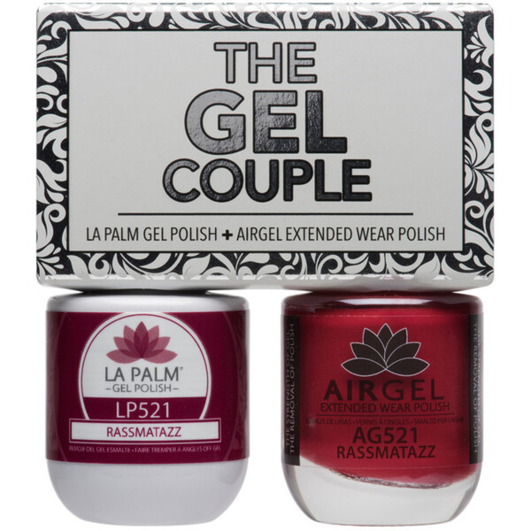 The Gel Couple - RAZZMATAZZ - La Palm Gel Polish 0.5 oz. + Airgel - Air Dry Extended Wear Polish 0.5 oz. by La Palm (LP521)