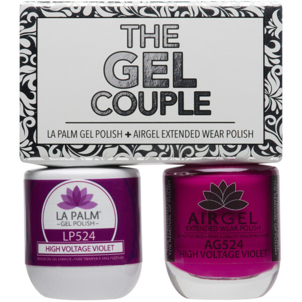 The Gel Couple - HIGH VOLTAGE VIOLET - La Palm Gel Polish 0.5 oz. + Airgel - Air Dry Extended Wear Polish 0.5 oz. by La Palm (LP524)