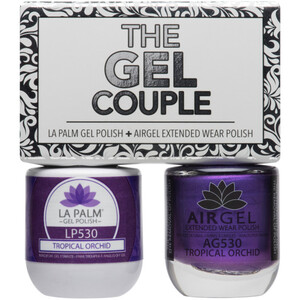 The Gel Couple - TROPICAL ORCHID - La Palm Gel Polish 0.5 oz. + Airgel - Air Dry Extended Wear Polish 0.5 oz. by La Palm (LP530)