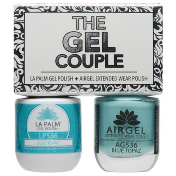 The Gel Couple - BLUE TOPAZ - La Palm Gel Polish 0.5 oz. + Airgel - Air Dry Extended Wear Polish 0.5 oz. by La Palm (LP536)