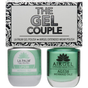 The Gel Couple - MERMAID TAIL - La Palm Gel Polish 0.5 oz. + Airgel - Air Dry Extended Wear Polish 0.5 oz. by La Palm (LP538)