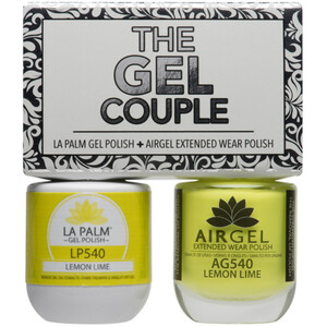 The Gel Couple - LEMON LIME - La Palm Gel Polish 0.5 oz. + Airgel - Air Dry Extended Wear Polish 0.5 oz. by La Palm (LP540)