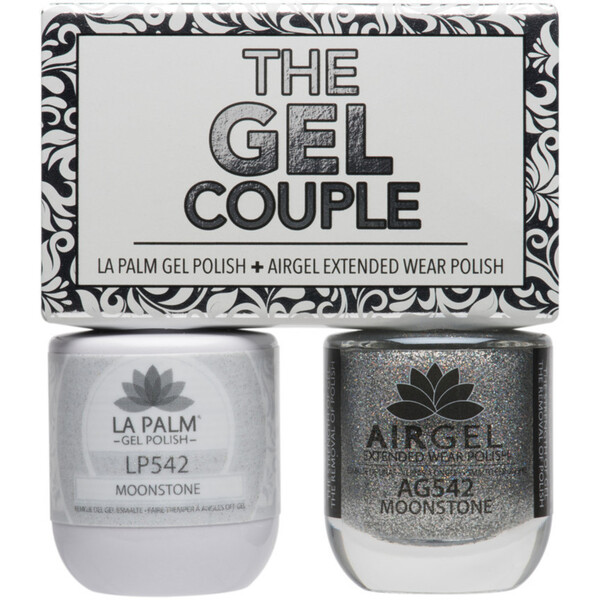 The Gel Couple - MOONSTONE - La Palm Gel Polish 0.5 oz. + Airgel - Air Dry Extended Wear Polish 0.5 oz. by La Palm (LP542)