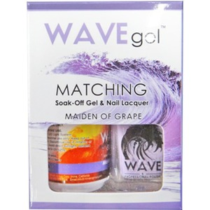 WaveGel Matching Soak Off Gel Polish & Nail Lacquer - Costa Rica Paradise Collection - MAIDEN OF GRAPE 0.5 oz. Each (W155)