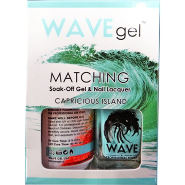WaveGel Matching Soak Off Gel Polish & Nail Lacquer - Costa Rica Paradise Collection - CAPRICIOUS ISLAND 0.5 oz. Each (W154)