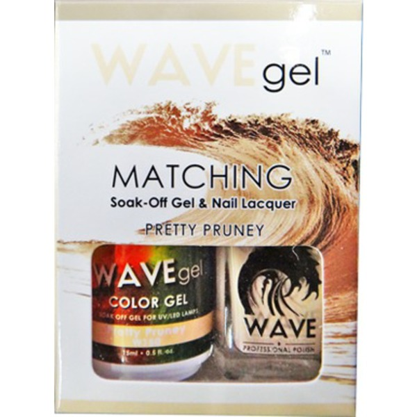 WaveGel Matching Soak Off Gel Polish & Nail Lacquer - Costa Rica Paradise Collection - PRETTY PRUNEY 0.5 oz. Each (W150)