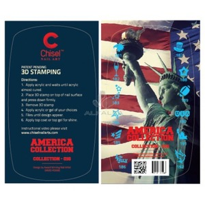 Chisel Nail Art America Collection #016 - 3D Nail Stamps (cna016)