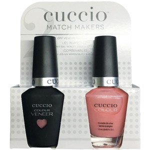 Cuccio Match Makers - Sweet Pink Collection - Strawberry Colada Kit - 1 Nail Lacquer + 1 Matching Veneer Soak Off LEDUV Nail Colour 0.43 oz. Each (#6400)