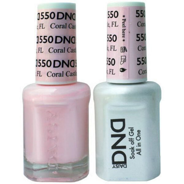 DND Duo GEL Pack - CORAL CASTLE FL 1 Gel Polish 0.47 oz. + 1 Lacquer 0.47 oz. in Matching Color (DND-G550)