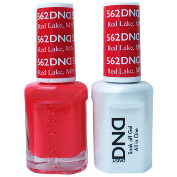 DND Duo GEL Pack - RED LAKE 1 Gel Polish 0.47 oz. + 1 Lacquer 0.47 oz. in Matching Color (DND-G562)