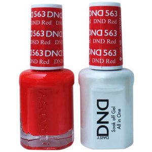 DND Duo GEL Pack - DND RED 1 Gel Polish 0.47 oz. + 1 Lacquer 0.47 oz. in Matching Color (DND-G563)