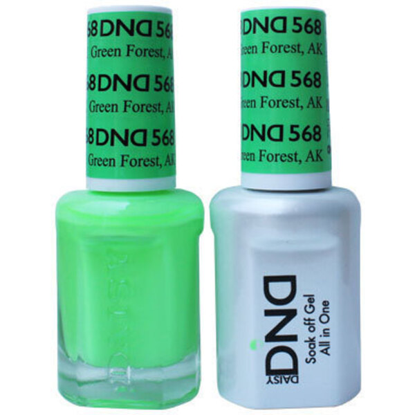 DND Duo GEL Pack - GREEN FOREST AK 1 Gel Polish 0.47 oz. + 1 Lacquer 0.47 oz. in Matching Color (DND-G568)
