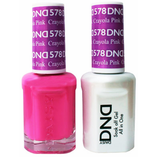 DND Duo GEL Pack - CRAYOLA PINK 1 Gel Polish 0.47 oz. + 1 Lacquer 0.47 oz. in Matching Color (DND-G578)