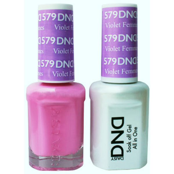 DND Duo GEL Pack - VIOLET FEMMES 1 Gel Polish 0.47 oz. + 1 Lacquer 0.47 oz. in Matching Color (DND-G579)