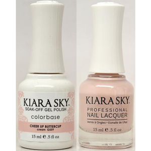 Kiara Sky Soak Off Gel Polish + Matching Lacquer - CHEER UP BUTTERCUP - G559 (G559)