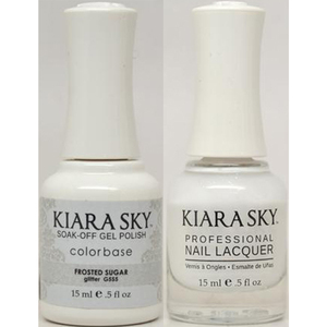 Kiara Sky Soak Off Gel Polish + Matching Lacquer - FROSTED SUGAR - G555 (G555)