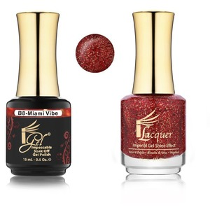 iGel Matched Set B Collection - 1 iGel Impecable Soaked-off Gel Polish 0.5 oz. + 1 iLacquer Matching Nail Lacquer Color 0.5 oz. - MIAMI VIBE #B08 (20096-B08)