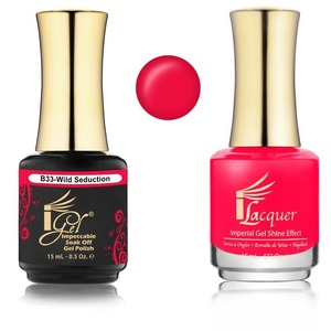 iGel Matched Set B Collection - 1 iGel Impecable Soaked-off Gel Polish 0.5 oz. + 1 iLacquer Matching Nail Lacquer Color 0.5 oz. - WILD SEDUCTION #B33 (20096-B33)