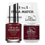 IBD It's a Match Duo - BRANDY WINE - #65520 a Matching Set - (1) Advanced Wear Pro Lacquer 0.5 oz. + (1) Just Gel Polish 0.5 oz. (24481)