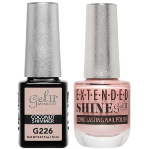 La Palm Gel II No Base Coat Gel Polish + Matching Extended Shine Polish - Seaside Shimmer Collection - COCONUT SHIMMER (#G226 - #ES226)