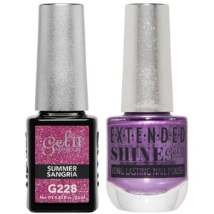 La Palm Gel II No Base Coat Gel Polish + Matching Extended Shine Polish - Seaside Shimmer Collection - SUMMER SANGRIA (#G228 - #ES228)