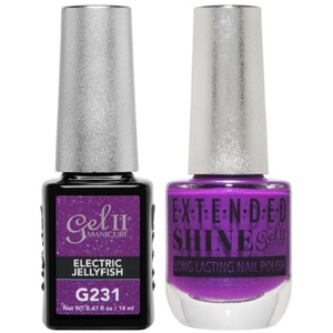 La Palm Gel II No Base Coat Gel Polish + Matching Extended Shine Polish - Seaside Shimmer Collection - ELECTRIC JELLYFISH (#G231 - #ES231)