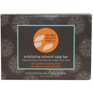 Alaska Glacial Exfoliating Mineral Soap Bar - Bergamot & Lavender - 100% Natural Retail Size - 4 oz. (SP096)