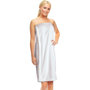 "Ladies Fleece Spa Wrap with Velcro® Closure - White - 35"" Long Pack of 5 (504509 X 5)"
