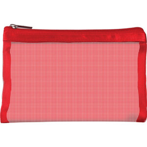 "Simply Mesh - Small Pouch with Zipper Closure - Red 6.5"" x 4"" Pack of 48 - Individually Wrapped (59923 X 48)"