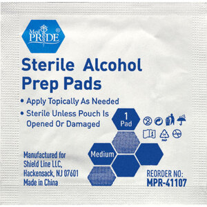 "MedPride® Sterile Alcohol Prep Pads - Medium 2.25"" x 1.16"" 100 per Box X 60 Boxes = Case of 6000 (96642 X 60)"