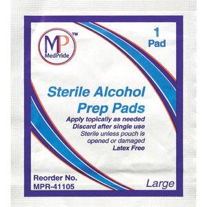 "MedPride® Sterile Alcohol Prep Pads - Large 3.5"" x 1.8"" 100 per Box X 30 Boxes = Case of 3000 (96643 X 30)"