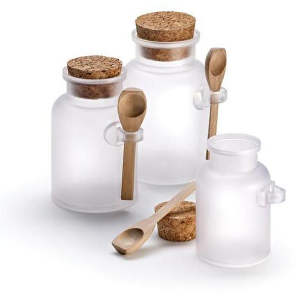 Frosted Apothecary Jars with Caps and Spoons - Medium - 200 mL. 36 Pack - Individually Wrapped (29969 X 36)