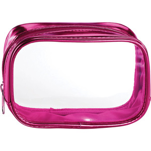 "Clear Sided Metallic Cosmetic Bag - Pink - 6"" x 2"" x 3"" Pack of 24 (59935 X 24)"