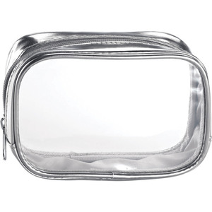 "Clear Sided Metallic Cosmetic Bag - Silver - 6"" x 2"" x 3"" Pack of 24 (59936 X 24)"