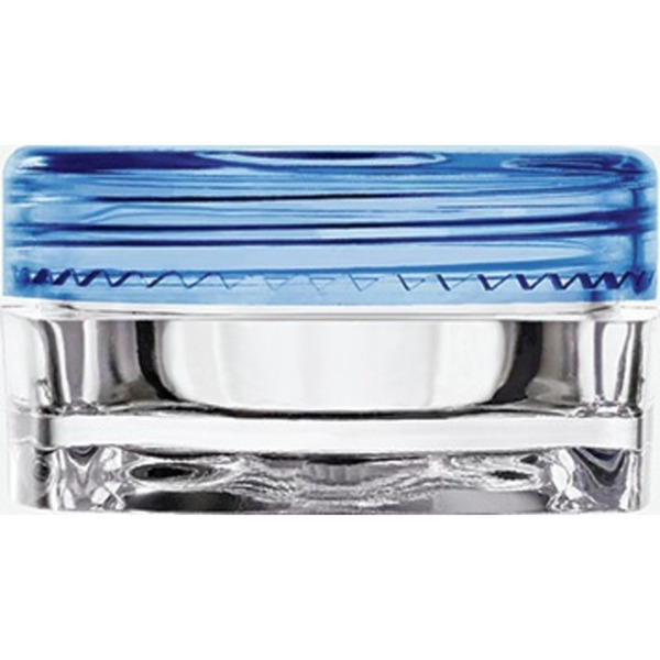 Clear Square Sample Jars with Blue Round Caps - 0.1 oz - 3 mL. 500 Pack (29350 X 10)