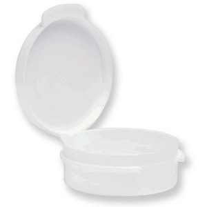 Round Hinged Jar - White - 0.35 oz. Case of 1000 Jars (29299 X 2)