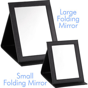 "Large Folding Tabletop Mirror - Black - 10"" X 7"" Pack of 8 (513552 X 8)"