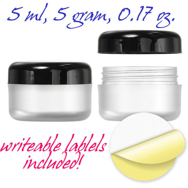 Frosted Jars with Black Cap and Writeable Labels - 0.17 oz. 500 Pack (29352 X 10)