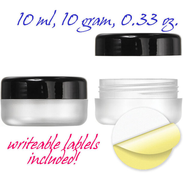 Frosted Jars with Black Cap and Writeable Labels - 0.33 oz. 350 Pack (29353 X 7)