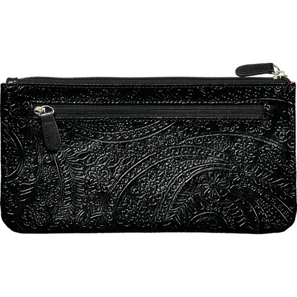 "Small Zippered Clutch Bag - Black Paisley - 9.5"" x 5"" Case of 14 Clutches (599992 X 14)"