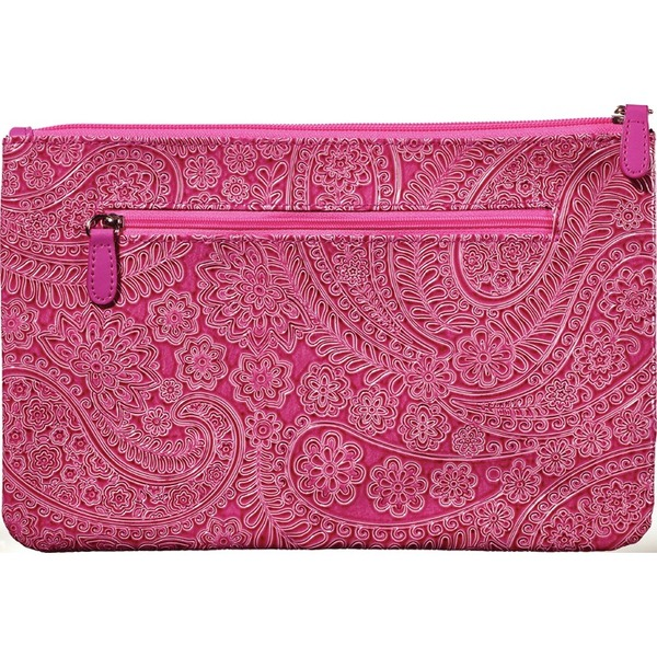 "Medium Zippered Clutch Bag - Pink Paisley - 10.825"" x 7"" Case of 14 Clutches (599993 X 14)"