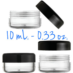 Clear Round Sample Jars - Threaded Jar and Black Cap - 10 mL. - 0.33 oz. 400 Unassembled Jars (29513 X 2)