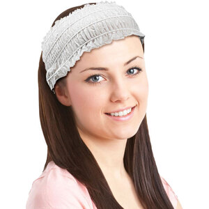 "Disposable Stretch Ruffled Headbands - 3.5"" Wide - One Size - Individually Wrapped 24 Pieces Per Pack X 24 Packs = Case of 576 Headbands (505616 X 24)"