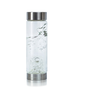 VitaJuwel ViA - Gem Water Bottle - Diamonds: Diamond Slivers + Clear Quartz (01VJVIADIAM)
