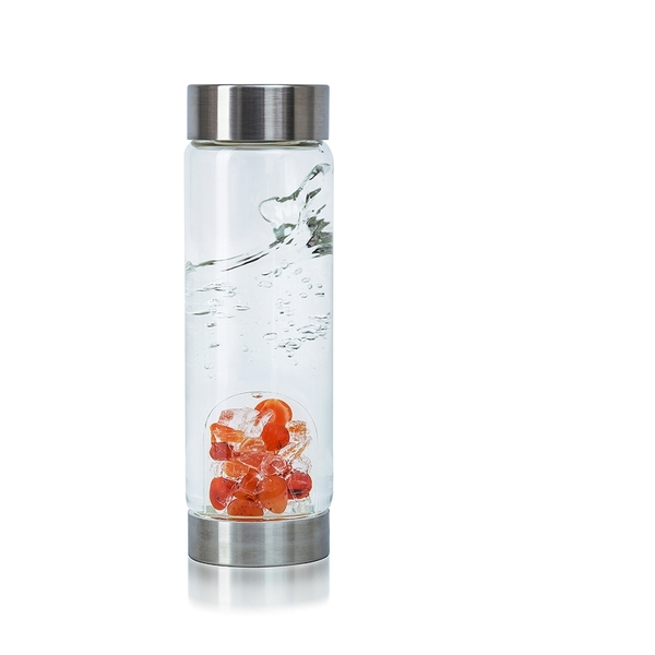 VitaJuwel ViA Crystal Edition - Gem Water Bottle - Passion: Carnelian + Halite Salt (01VJVIAMEKAHA)