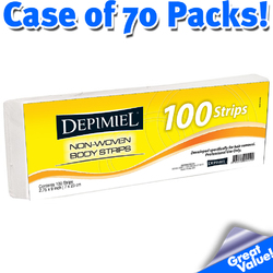"Depimiel - Non-Woven Epilating Body Strips - 2.75"" X 9"" 100 Strips per Pack - Case of 70 Packs (STRIPS-Case)"