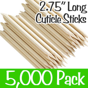 "2 34"" Long Cuticle Sticks - 1 Beveled End + 1 Pointed End 50 Bags of 100 = Case of 5000 (Cuticle 2.75)"