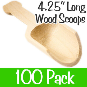 "Wood Scoopers - 4.25"" Long x 1.25"" Wide Case of 100 (SCOOP 4)"