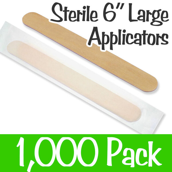 "Large Sterile Applicator Sticks - 6"" Long x 0.71"" Wide - Individually Wrapped Case of 1000 (WTD_ADULT STERIL)"