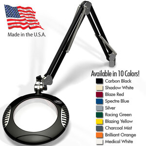 "Green-Lite - 7.5"" Round LED Magnifier - 43"" Reach - Fully Dimmable with 3 Bank LED Adjustability Available in 10 Colors + 5 Base Options (62X00-X)"